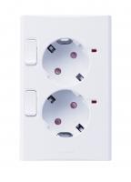 Розетка двойная с заземлением (45 градусов) с 2-мя выключателями