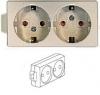 Розетка двойная с заземленимем для внешней проводки  ALH 3225
